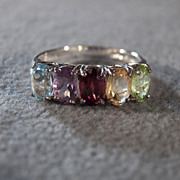 SALE Sterling Silver Ring with Peridot, Citrine, Garnet, Amethyst and Blue Topaz Stones, size