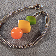 SALE Vintage Butterscotch Orange Green Bakelite  Pendant  Charm Chain Necklace