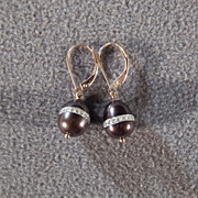 Vintage 14 K Yellow Gold  2  Grey Cultured Pearl Round Cubic Zirconia Lever Closure Pierced  Dangle Earrings