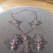 SALE Vintage Sterling Silver & Genuine Amethyst Beads Lariat Style Necklace and Pierced ...