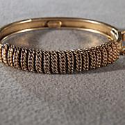 SALE Vintage Signed  Freirich Yellow Gold Tone Bold  Fancy  Etched Design Bangle Bracelet