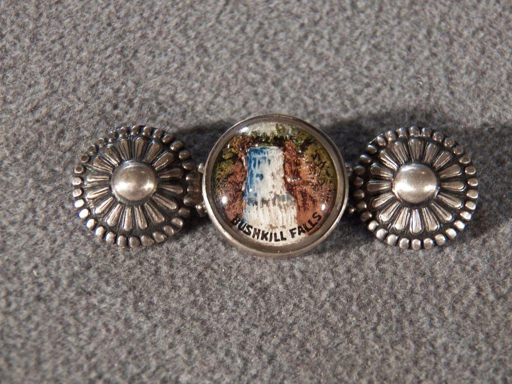 Vintage  Sterling silver  Reverse Painted Glass Unique Bushkill Falls Souvenir Fancy Pin Brooch
