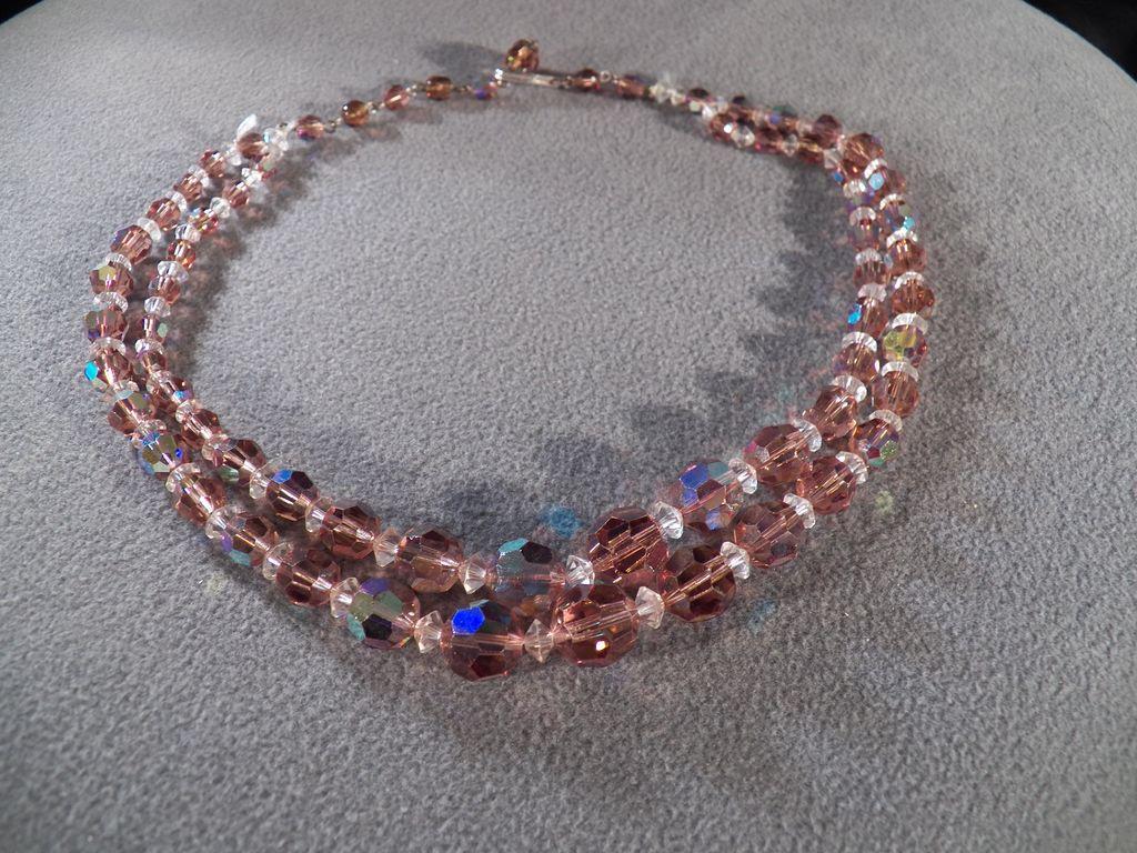 Vintage 2 Strand Shades Amber Glass Aurora Borealis Glass Bead Necklace
