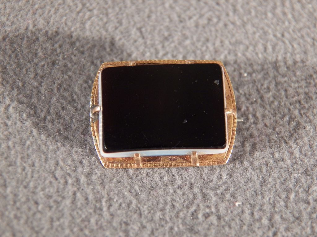 Vintage 12 K Yellow Gold Tone Large Rectangle Black Onyx Pin Brooch