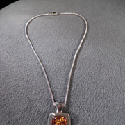 SALE Vintage Sterling Silver Pendant Necklace Square Domed Amber Dangling Pendant Charm ...