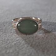 SALE Vintage Sterling Silver Large Green Jade Fancy Scrolled Woven Braided Eternity Wedding ..