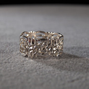 SALE Vintage Sterling Silver Bold Wide Fancy Etched Scrolled Filigree Eternity Style Wedding .