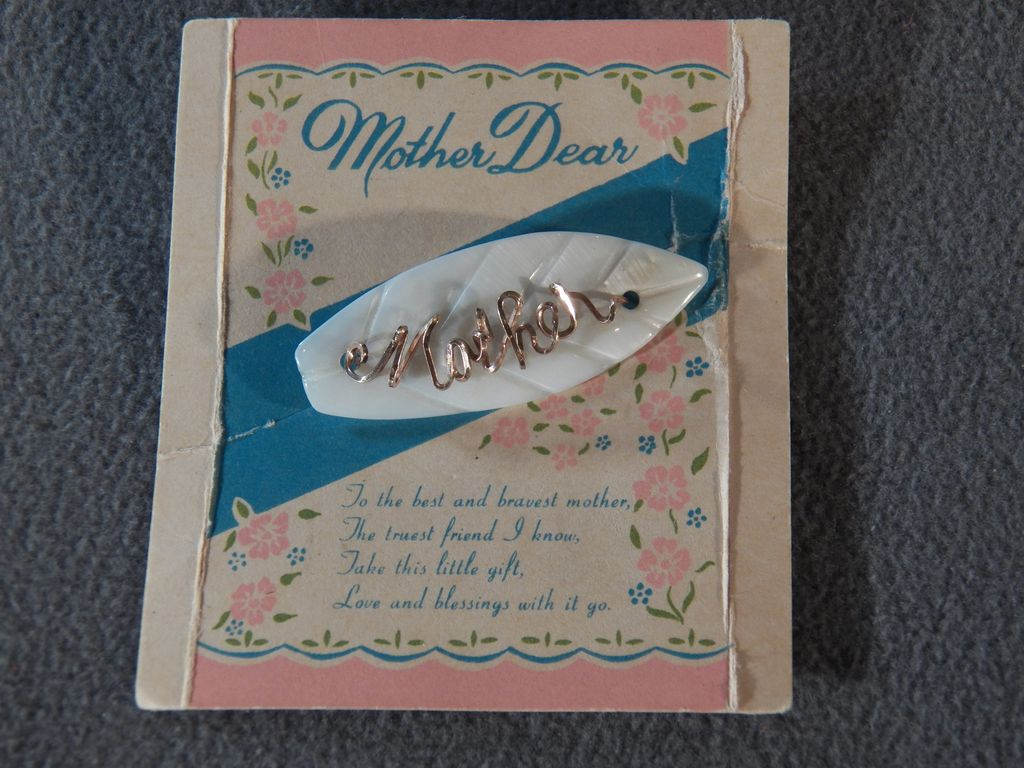 "Vintage 12 K Yellow Gold Filled Fancy Script Writing ""Mother"" Mother Of Pearl  Pin Brooch Original Card"