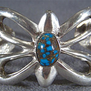 Vintage Sterling Silver South West Style Ornate Sterling Silver Turquoise  Cuff Bangle Bracelet