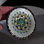 Vintage Multi Colored Enameled Glass Bead Unique Bowl Dish