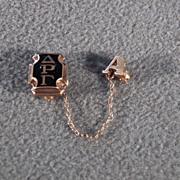 Vintage 10 K Yellow Gold Oval Oblong Black Onyx Delta Rho Gamma Sorority Fancy Pin Brooch