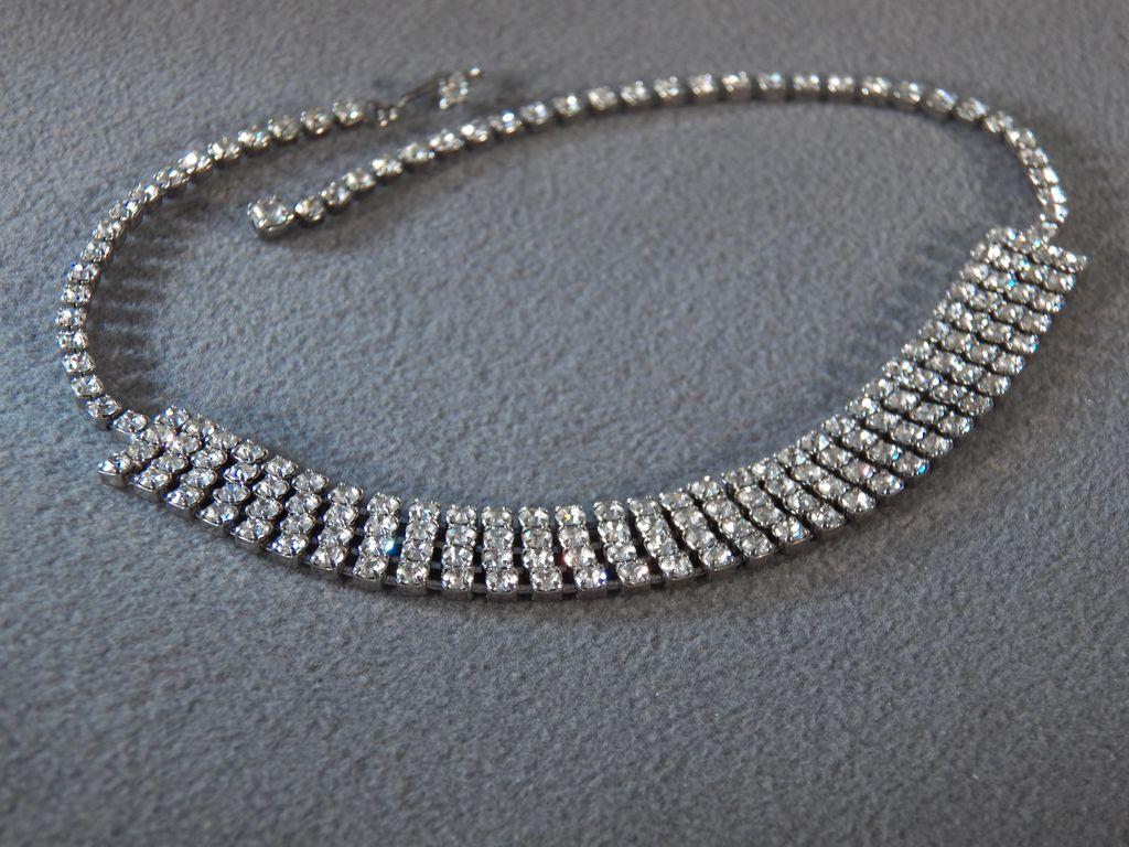 Vintage Silvertone White Rhinestone Choker Necklace with Four Rows of Round White Rhinestones **