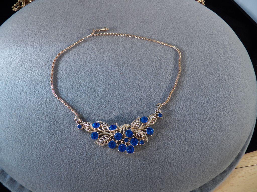 Vintage Goldtone Choker Necklace with 15 Round Blue Rhinestones Adorning a Huge Leaf Pendant **