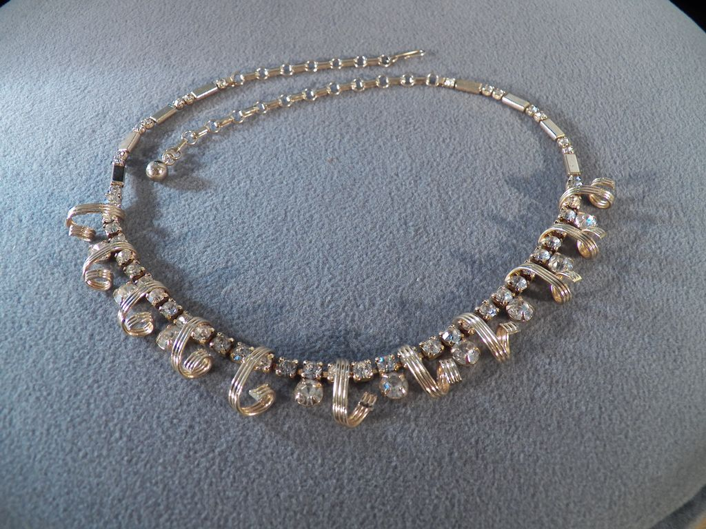 Vintage Goldtone Necklace with Spiral Beads and Round White Rhinestone Accents **