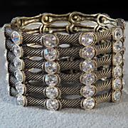 SALE Vintage Goldtone Elastic Cuff Style Bracelet with Six Rows of Round White Rhinestone ...