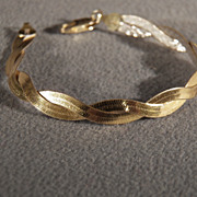 Vintage Sterling Silver Yellow gold Overlay Italian Fancy Etched  Wide Woven Braided Link Bracelet