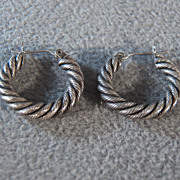 Sterling Silver Braided Hoop Earrings **