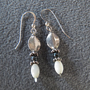 Sterling Silver Dangle Earrings with Hematite and Mother of Pearl Beads **