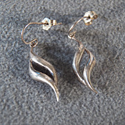 Sterling Silver Twist Dangle Earrings**