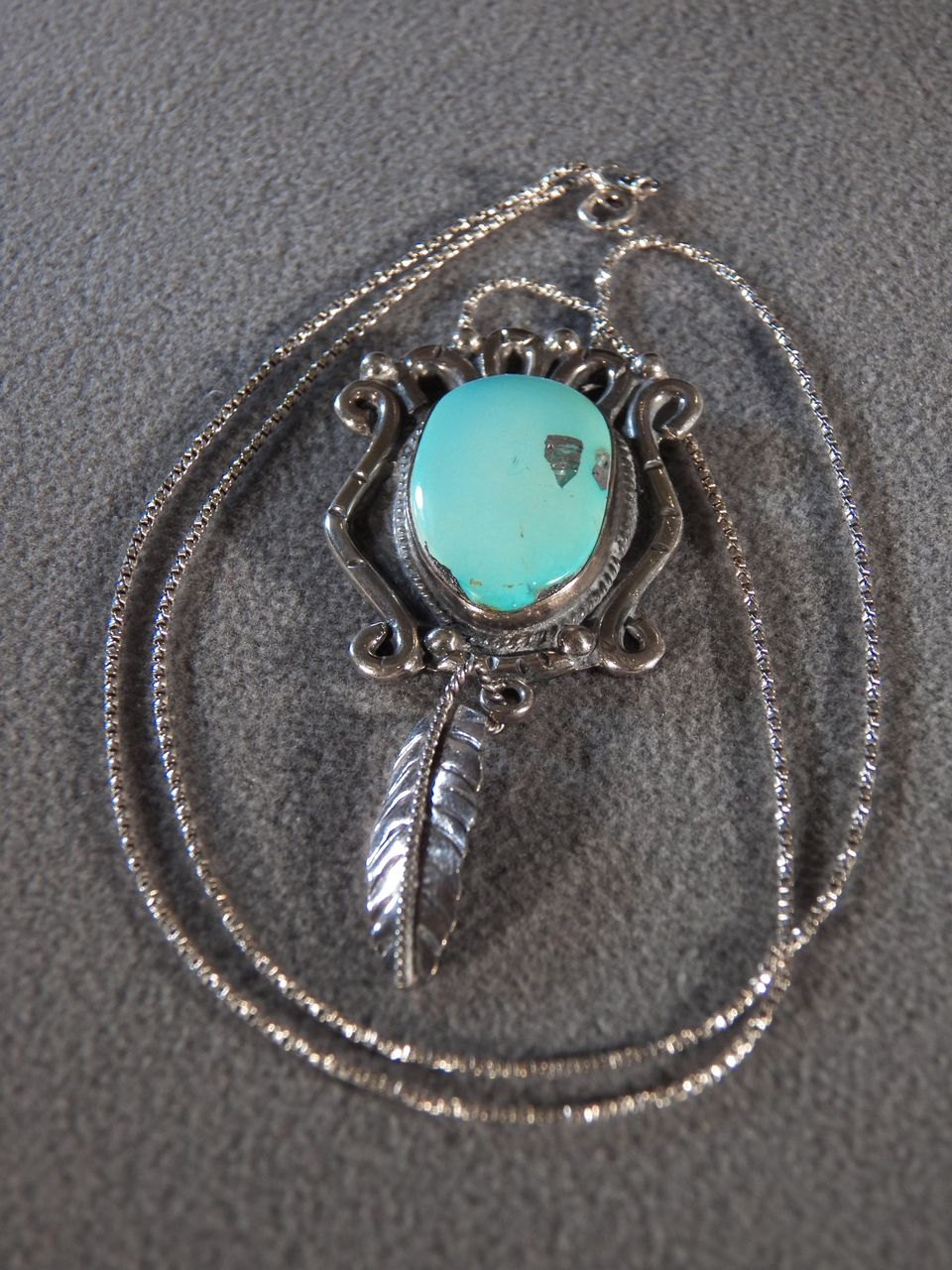 Vintage Sterling Silver Large Oval Turquoise Fancy Southwest Design Pendant Charm Necklace Chain