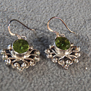 Vintage Sterling Silver 2 Oval  Peridot Fancy Filigree Etched Scrolled Long Dangle Euro Wire Pierced Earrings