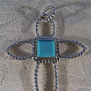SALE Vintage Sterling Silver Turquoise Braided Cross Pendant