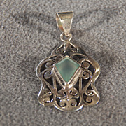 Vintage Sterling Silver Marquise Aqua Marine Fancy Filigree Scrolled Bold Pendant Charm