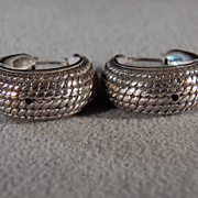 Vintage  Sterling Silver Fancy Etched Braided Bold Wide Oblong Pierced Hoop Earrings