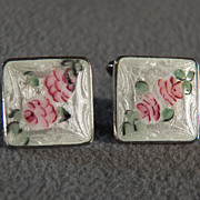 Vintage  Sterling Silver Fancy Floral Guilloche Screw Back  Earrings