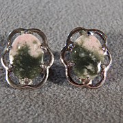 Vintage Sterling Silver 2 Oval Striated Agate Raised Relief Fancy  Scrolled Pierced Dangle Earrings