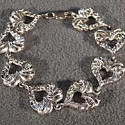 Vintage Sterling Silver  Fancy Etched 9 Puffed Heart Link Line Tennis Style Bracelet