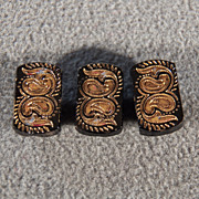 Vintage  Set 3 Rectangle Fancy Etched Carved Gold Gild Painted Buttons