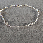 Vintage Sterling Silver Combination Rolled Woven Etched Link Round Bead Bracelet