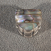 Vintage Sterling Silver  Bold Abalone Trinket Pill Box