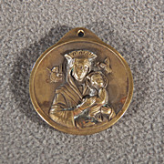 Vintage Brass Round Raised Relief Religious Figural Pendant Charm