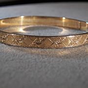Vintage 14 K Yellow Gold Filled Signed Vandell Fancy Etched Bangle Bracelet