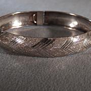 Vintage Sterling Silver Fancy Etched  Bold Wide Bangle Bracelet