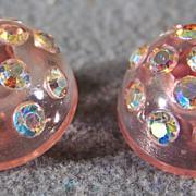 Vintage fancy set  2 Pink  Lucite  Aurora Borealis Rhinestone Buttons  SET