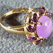 SALE Vintage 14 k Yellow Gold Bold Oval Lavender  Jade 8 Marquise African  Amethyst Fancy ...