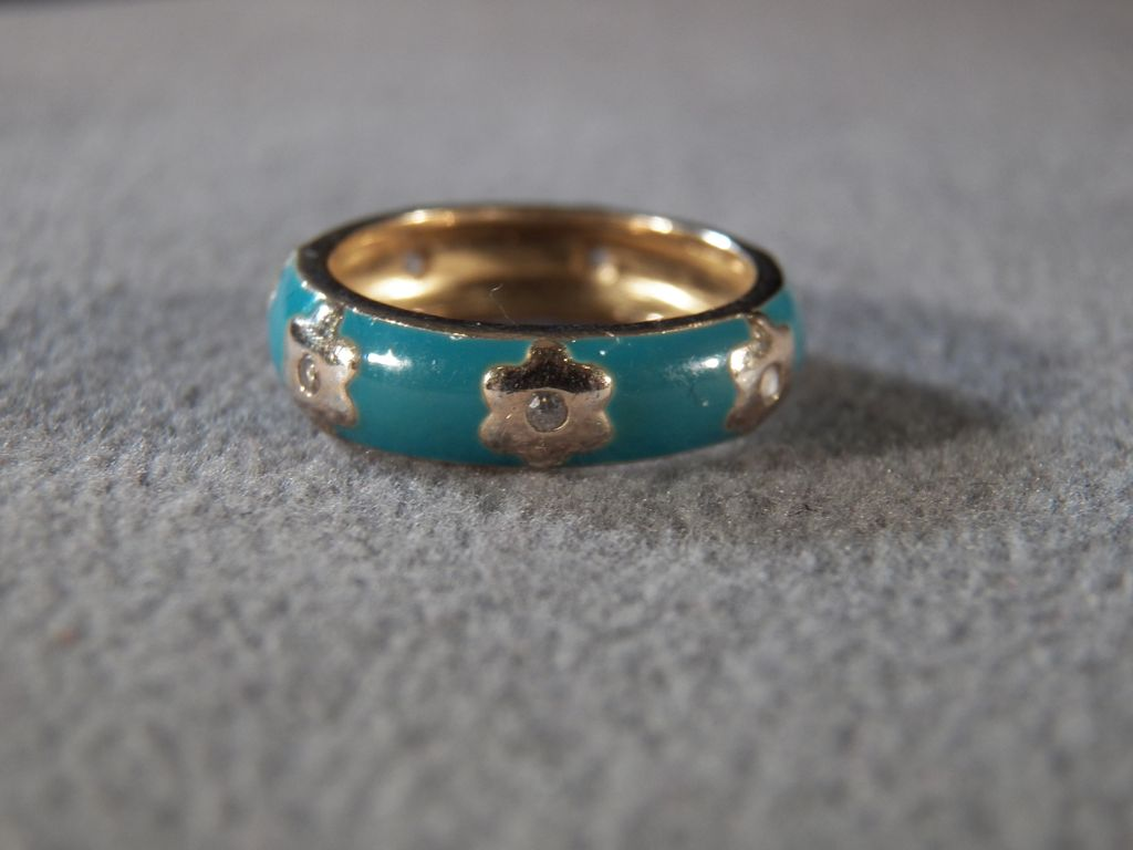Vintage Sterling Silver Yellow Gold Overlay Green Blue Enameled 7 Round Diamond Eternity Wedding Band Ring, Size 6