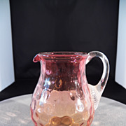 SALE Vintage Coin Dot Cranberry Amberina Glass Pitcher Vase Ribbed Applied Handle MINT
