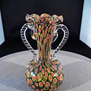 SALE Vintage Italian Murano Millefiori Venetian Art Glass Detailed Ruffled Vase Applied Ribbed