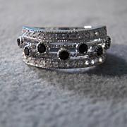 SALE Vintage Sterling Silver 7 Round Black Onyx 34 Diamond Fancy Etched 3 Row Wedding ...