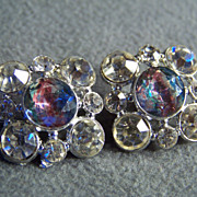 SALE Vintage  Silver Tone set 2  bold fancy multi color rhinestone button    W
