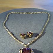 SALE Vintage Yellow Gold Tone German fancy filigree Purple Glass rhinestone Faux Pearl enamel