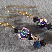SALE Vintage gold tone aurora cloisonne long bold dangle earrings