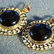 SALE Vintage Sterling Silver Yellow gold overlay Jet Black enamel 2 Round Black Onyx rhodolite