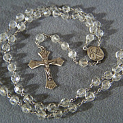 SALE Vintage Sterling Silver  bold round glass bead cross rosary    W