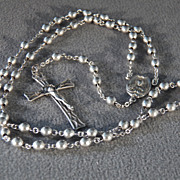 SALE Vintage Sterling Silver Multi Round Bead Fancy Raised Relief Cross Rosary