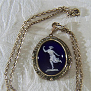 SALE Vintage Classical Style Greek  Roman Gold Mythological figure Glass Cameo Charm  Pendant